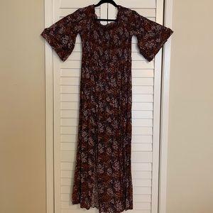 Long smocked burgundy floral print dress